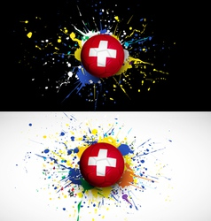 Switzerland flag with soccer ball dash on colorful vector image