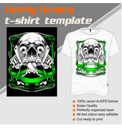 t-shirt template fully editable with skull tattoo vector image