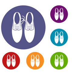 Tied laces on shoes joke icons set vector