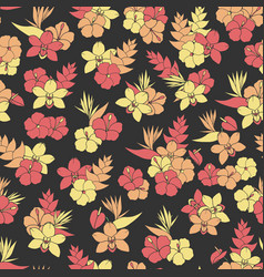Tropical repeat pattern with orchid hibiscus vector
