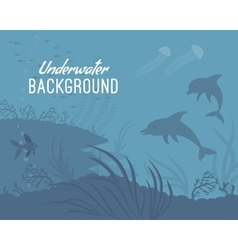 Underwater background template with dolphin vector