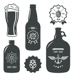 Vintage craft beer brewery bottles label sign vector