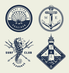 Vintage monochrome sea emblems set vector