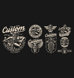 vintage motorcycle monochrome designs set vector image