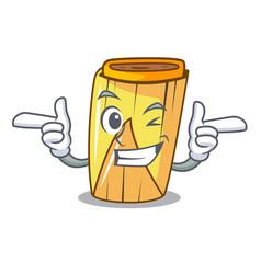 Wink corn tamales shape on the cartoon vector