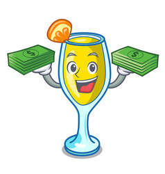 With money bag mimosa mascot cartoon style vector