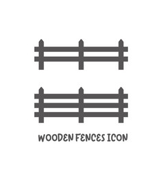 Wooden fences icon simple flat style vector