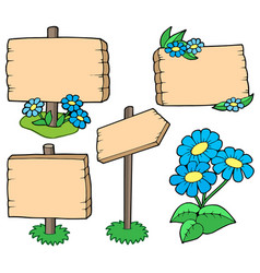 Wooden tables with flowers collection vector