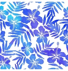 Blue watercolor hibiscus seamless pattern vector image