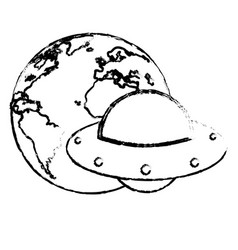 Earth with ufo invasion design sketch vector