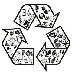 Energy and resource icons in recycle arrow vector image vector image