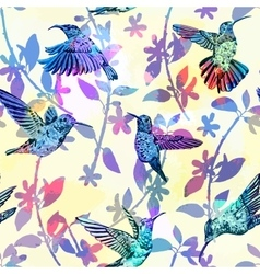 Hummingbird seamless pattern Hand drawn tropical vector image vector image