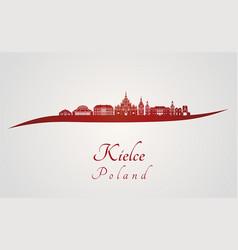 kielce skyline in red vector image vector image