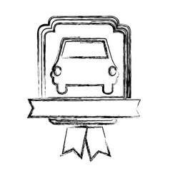 monochrome sketch of automobile front in heraldic vector image