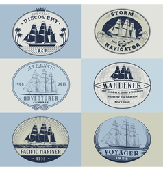 Nautical labelscolor1 vector image vector image