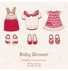 Baby Shower Card with Dresses vector image