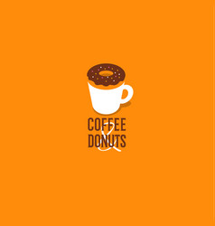 coffee and donut cafe emblem vector image