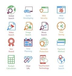 Color Internet Marketing Icons Vol 3 vector image