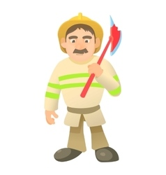 Firefighter with axe icon cartoon style vector image