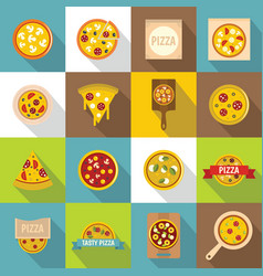 pizza icons set food flat style vector image