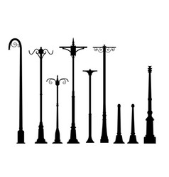 set of modern lamp post in flat style vector image