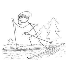 Cartoon of man male skiing skating vector