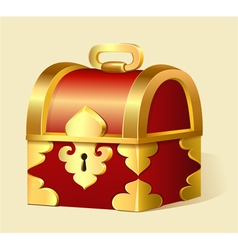 Cartoon treasure chest with gold trim vector
