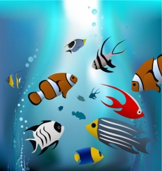 cartoon tropical fishes vector image