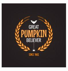 halloween pumpkin believer logo concept background vector image vector image