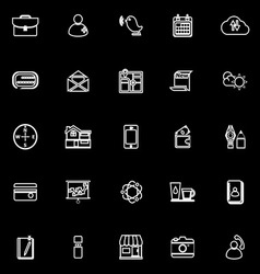 Mobile line icons on black background vector image vector image