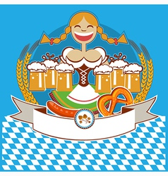 oktoberfest symbol label with girl and beer color vector image vector image