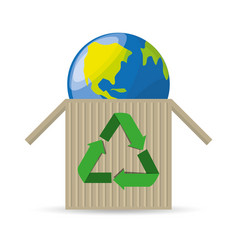 planet inside recycling box vector image