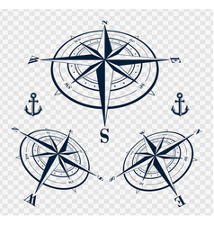 set of compass roses or wind roses vector image vector image