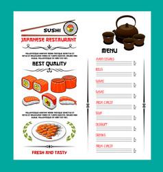 sushi menu template of japanese cuisine restaurant vector image vector image
