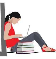 woman studying vector image vector image