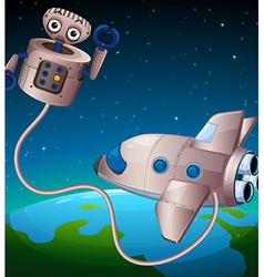 A robot and an aircraft at the outerspace vector image vector image