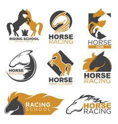 Horse racing colorful logo label set isolated on vector
