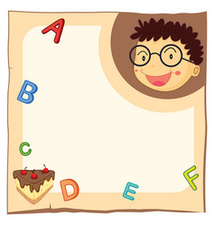 paper template with boy and alphabets vector image vector image