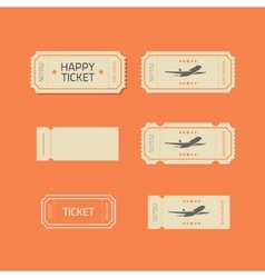 Ticket icons set isolated on orange vector image