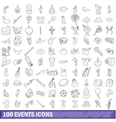 100 events icons set outline style vector image