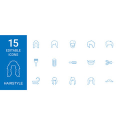 15 hairstyle icons vector