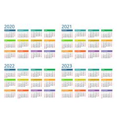 2020 calendar print template week starts sunday vector image