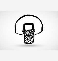 A basketball flying into ring in grunge vector