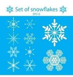 A set of white snowflakes on a blue vector image