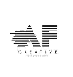 af a f zebra letter logo design with black and vector image