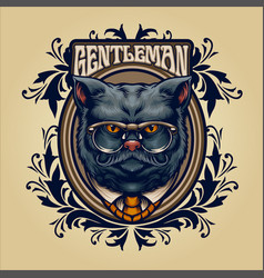animal grey cat with frame ornaments vector image