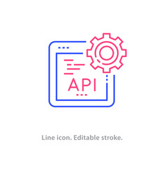Api line icon on white background editable stroke vector
