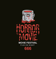Banner for scary cinema horror movie festival vector