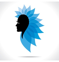 blue leaf women head vector image