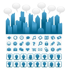 Blue socia media city and icons vector